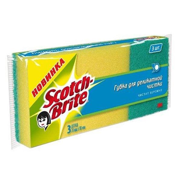 Губка для деликатной чистки Scotch-Brite, 3 шт6152Набор из 3 губок Scotch-Brite предназначен для ухода за всеми видами поверхностей, в том числе деликатными: за стеклом, пластиком, керамикой, фарфором, хрусталем, кафелем. Губка Scotch-Brite идеально удаляет жир, грязь и пригоревшую пищу. Для удобства применения с одной стороны губки нанесен абразивный слой. Губки сохраняют чистоту и свежесть даже после многократного применения, а их эргономичная форма удобна для руки.