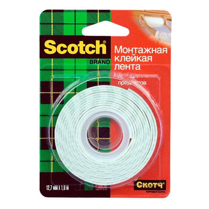 Монтажная клейкая лента Scotch, 1,9 м11930Монтажная клейкая лента Scotch подходит для крепления предметов весом до 900 грамм, идеальна для декорирования помещений. Лента крепко держит благодаря пружинящей вспененной основе. Может использоваться на большинстве поверхностей. Характеристики: Материал: вспененный полимер. Длина ленты: 1,9 м. Ширина ленты: 1,2 см. Максимальная нагрузка: 900 г. Производитель: США. Артикул: 11930.