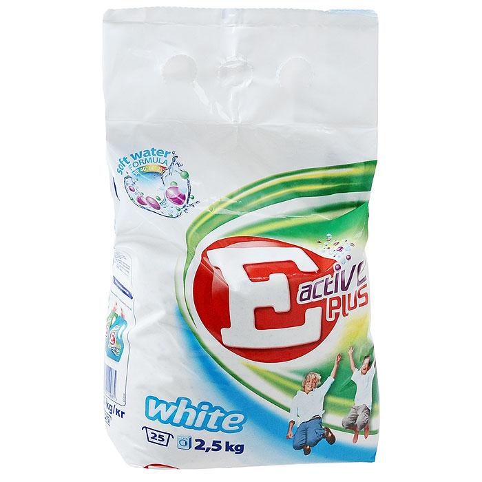 Стиральный порошок Е Active Plus. White для светлых вещей, автомат, 2,5 кг11301Стиральный порошок Е Active Plus. White эффективно удаляет пятна с белых и светлых тканей. Содержит формулу Soft Water, благодаря которой эффективно отстирывает загрязнения даже при низкой температуре (уже при 30°С) и смягчает жесткую воду. После стирки порошком Е Active Plus. White ваши вещи будут чистыми и свежими, а также приобретут приятный аромат. Протестирован дерматологически.