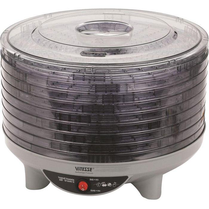 Электросушилка Vitesse, 8 поддонов. VS-502VS-502 ЭлектросушкаЭлектросушилка Vitesse выполнена из высококачественного пластика и состоит из корпуса, 8 съемных вместительных поддонов и съемной крышки. Поддоны и крышка выполнены из прозрачного пластика, что позволяет наблюдать за процессом сушки. Регулируемые съемные поддоны могут быть отрегулированы по высоте в двух положениях: нормальном и высоком. Нормальное положение необходимо для продуктов толщиной до 1,25 см, а высокое положение для продуктов толщиной до 2,5 см. Для перехода в высокое положение поднимите поддон так, чтобы зубчики одного поддона совпали с зубчиками другого. Электросушилка оснащена кнопками с подсветкой, защитой от перегрева, а также вентилятором для циркуляции воздуха. Электросушилка работает в тихом режиме. С помощью электросушилки Vitesse всего за несколько часов в домашних и дачных условиях вы сможете высушить: - плоды яблок, груш, абрикосов, вишни, сливы, алычи; - ягоды шиповника, малины, клубники, земляники, черноплодной рябины, черной смородины,...