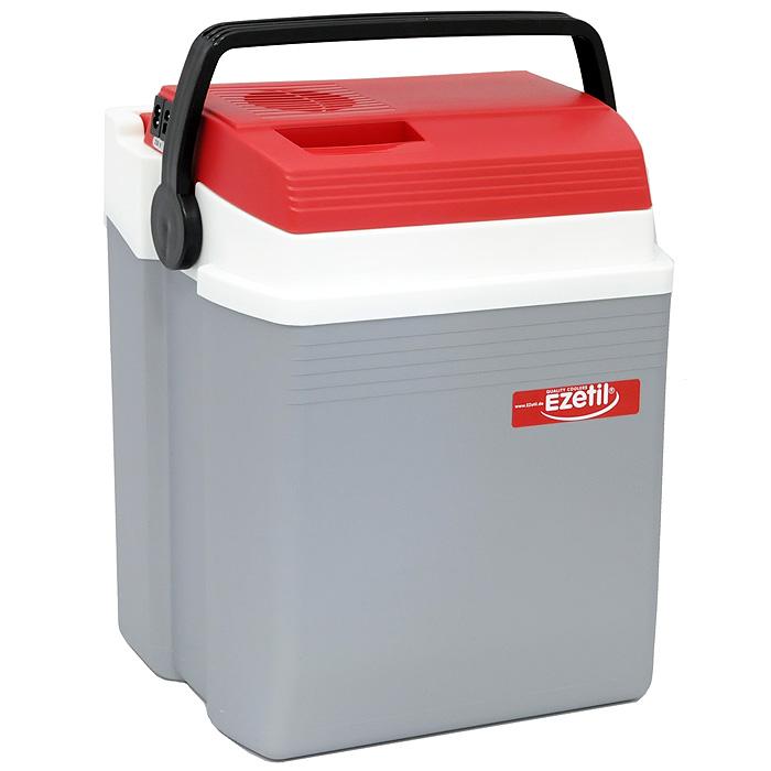 Автомобильный холодильник Ezetil E, цвет: серый, красный, 21 л
