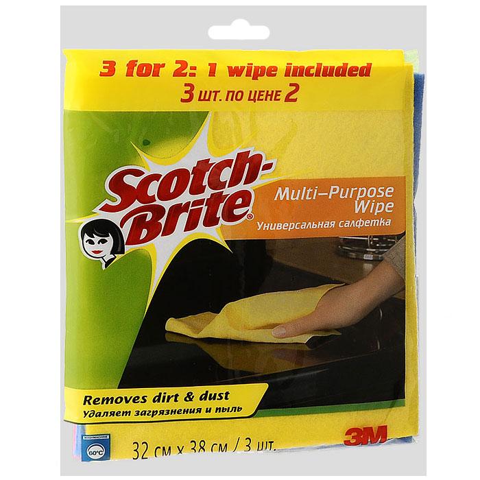 Салфетка Scotch-Brite, универсальная, 2 шт + 1 салфетка в ПОДАРОК11018Универсальная салфетка Scotch-Brite идеально подходит для сухой и влажной уборки любых поверхностей. Преимущества: удаляет загрязнения м пыль, легко отжимается, быстро сохнет и не впитывает неприятные запахи, мягкий и долговечный материал, может применяться с бытовыми моющими средствами, многократная машинная стирка при температуре 60°C.