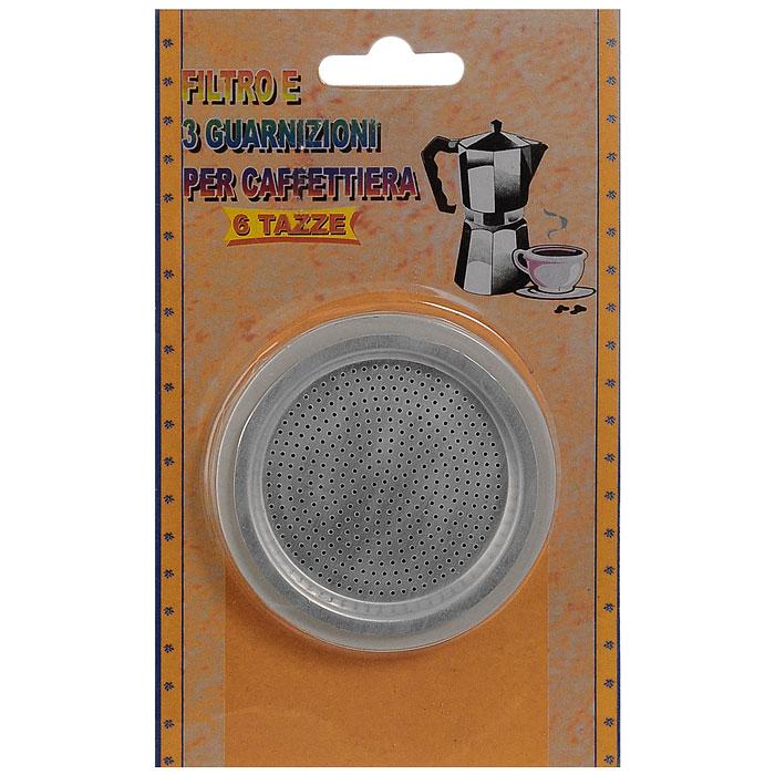 Набор для кофеварок Top Style, 4 предмета1100-CPФильтр из алюминиевого сплава Top Style подходит для гейзерных кофеварок-эспрессо. В набор входит 1 сменный фильтр на 6 порций и 3 уплотнителя. Фильтр находится в нижней емкости кофеварки, куда заливается вода и засыпается кофе. К нижней емкости прикручивается верхняя емкость, после чего кофеварка ставится на плиту. Кофе получается крепкий и насыщенный.