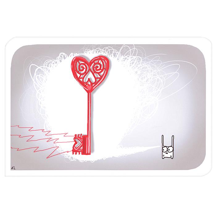 Открытка Люблю. Ручная авторская работа. IL005il-5Авторская открытка станет необычным и ярким дополнением к подарку дорогому и близкому вам человеку или просто добавит красок в серые будни. Открытка оформлена изображением забавного зайца и ключика. Обратная сторона открытки не содержит текста, что позволит вам самостоятельно написать самые теплые и искренние пожелания. К открытке прилагается бумажный конверт.
