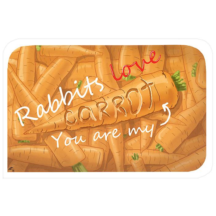 Открытка Rabbits Love. Ручная авторская работа. IL019il-19Авторская открытка станет необычным и ярким дополнением к подарку дорогому и близкому вам человеку или просто добавит красок в серые будни. Открытка оформлена изображением морковки и надписью Rabbits Love. You are my carrot. Обратная сторона открытки не содержит текста, что позволит вам самостоятельно написать самые теплые и искренние пожелания.