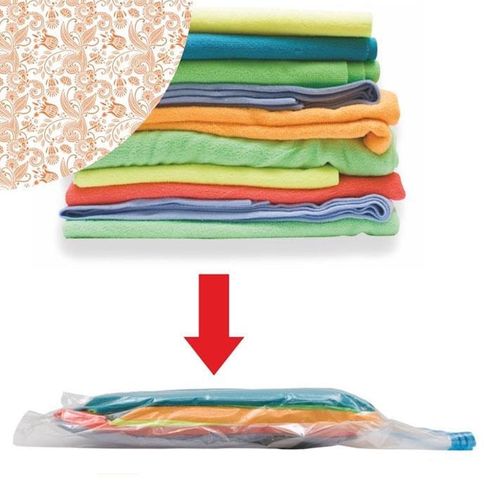 Пакет вакуумный Eva для хранения вещей цвет оранжевый 60 х 80 смЕС-0081Вакуумный пакет Eva предназначен для компактного хранения и перевозки одежды, постельных принадлежностей, мягких игрушек и прочего. Обеспечивает герметичную защиту вещей от влаги, пыли, моли и запаха. Пакет выполнен из плотного полиэтилена и оформлен оригинальным цветочным принтом. Экономит до 80% места в шкафу. Возможно многократное использование пакета. Совместим с любым видом пылесосов.