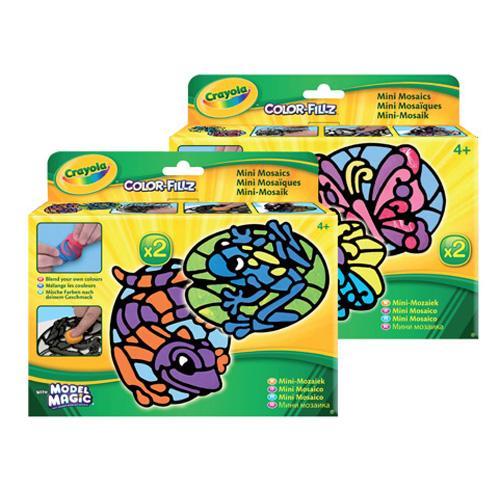 Набор для лепки Crayola Мозаика23-3072Набор для лепки Crayola Мозаика обязательно придется по вкусу не только ребенку, но и взрослому. Набор содержит все, что вам понадобится для создания готовой мозаики. В набор входят 2 рамки, 2 иллюстрации и 4 массы для лепки разных цветов: красного, желтого, голубого и черного. Заполните все пустоты в рамке, используя массу для лепки (можно также смешивать массу и создавать свои собственные цвета). Затем отклейте картинку, чтобы увидеть вашу красочную поделку. Создавайте свои собственные маленькие шедевры вместе с Crayola! Crayola - это английская компания, которая занимается производством различных детских канцелярских принадлежностей и наборов для детского творчества, является одним из мировых лидеров данной продукции.