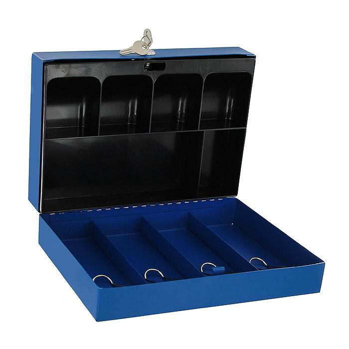 Кэшбокс Office-Force, цвет: синий10003Вашему вниманию предлагается металлический ящик для хранения денег и мелких предметов с ключевым замком. Контейнер покрашен методом напыления краски в серебряный цвет. В комплект входят 2 ключа. Внутри пластиковый лоток для мелочи. Для удобства транспортировки предусмотрена никелированная ручка. Характеристики: Материал: металл, пластик. Цвет: синий. Размер кэшбокса: 29 см х 19,5 см х 8 см. Изготовитель: Китай.