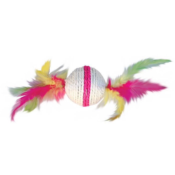 Игрушка-когтеточка Triol Шарик с перьями, цвет: розовый, диаметр 6 смКк-03000Игрушка-когтеточка Triol Шарик с перьями выполнена из сизаля и украшена разноцветными перьями. Внутри игрушки находится погремушка. Всем кошкам необходимо стачивать когти. Когтеточка - один из самых необходимых аксессуаров для кошки. Для приучения к когтеточке можно натереть ее сухой валерьянкой или кошачьей мятой. Игрушка-когтеточка Triol Шарик с перьями поможет вашему любимцу стачивать когти и при этом не портить вашу мебель. Диаметр игрушки: 6 см.