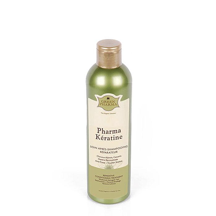 Кондиционер-ополаскиватель Greenpharma Pharma Keratine восстанавливающий, с растительным кератином и церамидами, для поврежденных и ослабленных волос, 300 мл (Green Pharma)