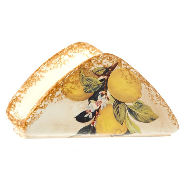 Салфетница Итальянские лимоныLCS996-CL-ALСалфетница Итальянские лимоны, выполненная из керамики, оформлена изображением лимонов на бежевом фоне. Такая салфетница великолепно украсит праздничный стол.