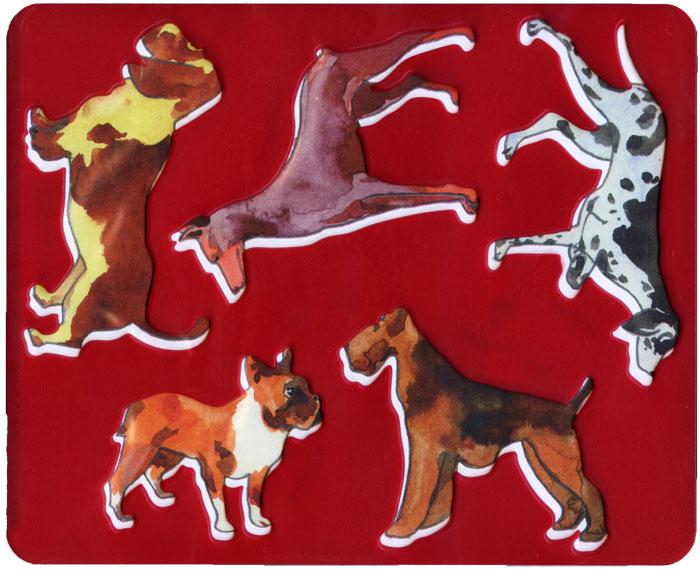 Трафарет Породы собак, цвет: красный19079Нарисуй собак и назови их породы с помощью трафарета Породы собак. Комплект состоит из трафарета и бумажной основы с персонажами, размещенными на трафарете. Трафарет можно использовать для рисования отдельных персонажей и композиций, удобно использовать трафарет для изготовления аппликаций. Трафарет предназначен для развития мелкой моторики и зрительно-двигательной координации, зрительного восприятия и навыков художественной композиции.