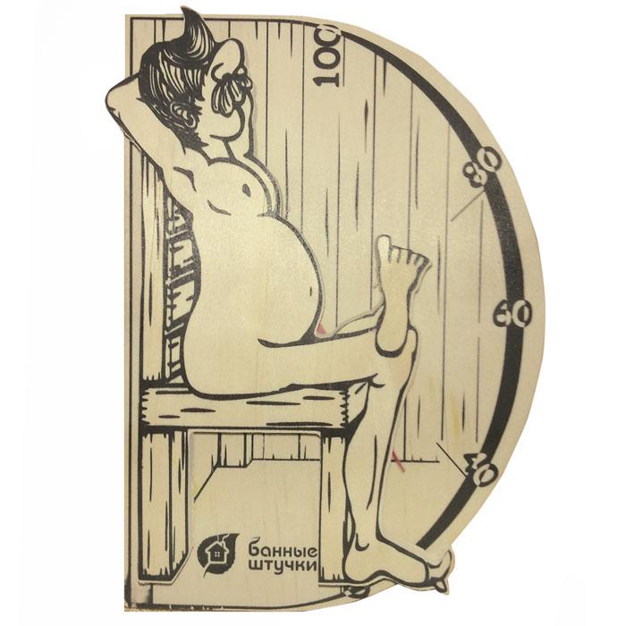 Термометр для бани и сауны В здоровом теле-здоровый дух. 1800318003Термометр для бани и сауны В здоровом теле-здоровый дух, выполненный из дерева, покажет температуру и не останется незамеченным для посетителей бани. Термометр декорирован фигуркой мужчины, сидящего на стуле. Максимальная измеряемая температура - 100°C. Русский человек любит ходить в баню, а особенно - париться. Однако следует иметь в виду, что превышение температур в парной приводит к определенным побочным эффектам - от головокружения и тошноты, до обострения хронических заболеваний. С термометром для бани и сауны В здоровом теле-здоровый дух вы сможете контролировать температуру и наслаждаться отдыхом.
