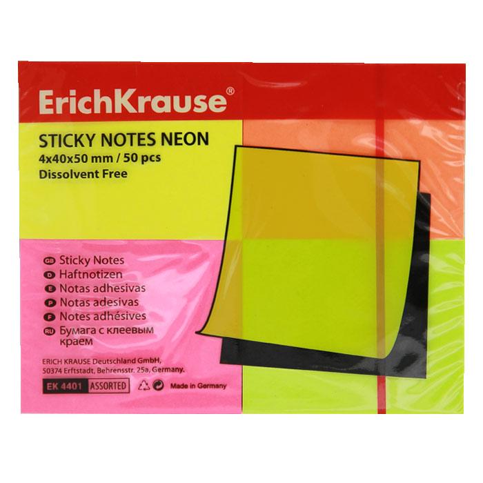Бумага для заметок Erich Krause, с липким слоем, 200 листов, 5 см х 4 см4401Бумага для заметок Erich Krause с липким слоем прекрасно подойдет для записи номеров телефонов, адресов, напоминания о важной встрече или внезапно пришедшей полезной мысли. Бумагу можно наклеивать на любую гладкую поверхность, без опасения оставить след от клея. Комплект включает четыре блока по 50 листов желтого, салатового, розового и оранжевого цветов. Характеристики: Размер листа: 5 см х 4 см. Количество: 50 листов в блоке.