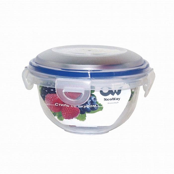 Контейнер для СВЧ NeoWay Enjoy круглый, 0,78 лYP1028AКруглый контейнер для СВЧ NeoWay Enjoy, выполненный из высококачественного пластика, это удобная и легкая тара для хранения и транспортировки бутербродов, порционных салатов, мяса или рыбы, горячих и холодных блюд, даже жидких продуктов. Контейнер 100% герметичен. Крышка оснащена четырьмя специальными защелками и силиконовым уплотнителем. Клипсы (защелки) позволяют произвести защелкивание более чем 400000 раз. Пустотелый силиконовый уплотнитель имеет большую гибкость и лучшее прилегание. Контейнеры могут быть вставлены один в другой, что позволяет сэкономить много пространства. Контейнер для СВЧ NeoWay Enjoy выдерживает температуру в диапазоне от -20°C до +120°C, его можно мыть в посудомоечной машине и нельзя нагревать пустым. Характеристики: Материал: пластик. Объем контейнера: 0,78 л. Диаметр контейнера: 13,5 см. Высота контейнера (без учета крышки): 8 см. Производитель: Китай. Артикул: YP1028A.