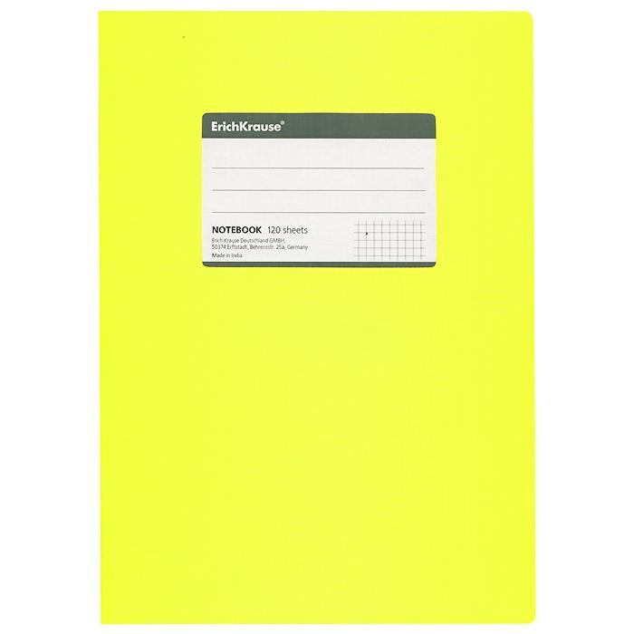 Тетрадь Fluor Color, цвет: желтый, 120 листов, В527966Общая тетрадь Fluor Color со скругленными уголками представляет новую линию универсальных общих тетрадей Erich Krause, предназначенных для студентов, учеников старших классов, преподавателей и для всех тех, кому важно записывать и надежно хранить нужную информацию. Яркая желтая обложка из ламинированного картона добавит новых ноток в рабочие будни. Внутренний блок выполнен из белой бумаги в серую клетку без полей. На обложке расположена наклейка для подписи тетради. Характеристики: Материал: картон, бумага. Размер тетради: 17 см х 24 см х 1,1 см. Формат: В5. Количество листов: 120. Изготовитель: Индия.