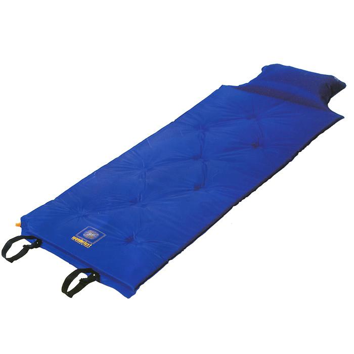 Коврик Wanderlust V-Max 25, самонадувающийся, с подушкой, цвет: синий15550Самонадувающийся коврик Wanderlust V-Max 25 - идеальный выбор для туризма, отдыха и занятия спортом. Быстрое надувание коврика за счет использования высококачественного вспененного наполнителя; Надувная подушка в изголовье; Отличная защита от сырости и холода земли; Прочное, моющееся внешнее покрытие; Комфорт при использовании на любом типе поверхности; Можно использовать как запасное спальное место, для запозднившегося гостя; Склейка точечная. В комплект входит чехол с завязкой на кулиске. Характеристики: Размер: 188 см х 55 см х 2,5 см. Материал наружный:100% полиэстер с пропиткой PVC. Наполнитель: вспененный полиуретан, 25 кг/м3. Клапан: пластиковый. Вес: 1220 г. Цвет: синий. Производитель: Китай. Артикул: 15550.
