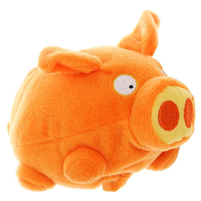 Мягкая интерактивная игрушка Woody OTime Свинка, цвет: оранжевый, 10 смWT0405Woody OTime Свинка - сумасшедшая анимированная игрушка в виде забавной ярко-оранжевой свинки. Если свинку ударить или уронить, она начнет издавать смешные хрюкающие звуки. Игрушка изготовлена из нетоксичных экологически чистых материалов, очень мягкая и чрезвычайно приятная на ощупь. После стирки не деформируется и не теряет внешний вид. Благодаря наполнителю из мелких пластиковых гранул оказывает антистрессовое действие. Такая игрушка будет отлично смотреться в качестве оригинального веселого подарка и доставит массу положительных эмоций своему обладателю. Характеристики: Материал: искусственный мех, текстиль, пластик. Материал набивки: пластиковые гранулы, гипоаллергенный синтепон. Размер игрушки: 10 см x 15 см x 9 см. Цвет: оранжевый. Работает от 3 батарей напряжением 1,5V типа АА(R6) (входят в комплект).