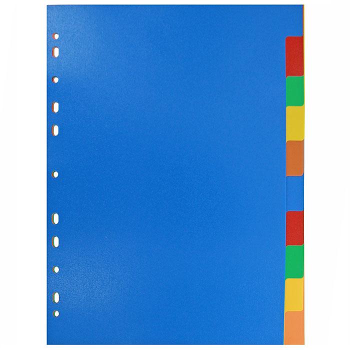 Разделитель цветовой Erich Krause, 10 цветов, формат А42715Цветовой разделитель листов Erich Krause - удобный офисный инструмент, предназначенный для классификации документов и рабочих бумаг формата А4. Универсальная перфорация совместима со всеми видами кольцевых механизмов. Комплект включает пластиковые разделители 10 ярких цветов. Характеристики: Размер разделителя: 29,5 см x 22,5 см. Формат: А4. Количество: 10 шт. Изготовитель: Малайзия.