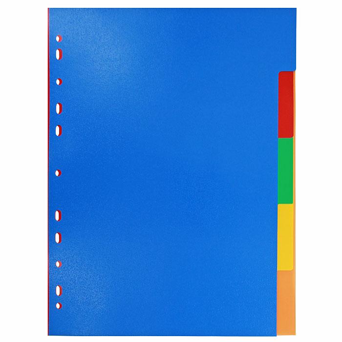 Разделитель цветовой Erich Krause, 5 цветов, формат А42714Цветовой разделитель листов Erich Krause - удобный офисный инструмент, предназначенный для классификации документов и рабочих бумаг формата А4. Универсальная перфорация совместима со всеми видами кольцевых механизмов. Комплект включает 5 разделителей из высококачественного пластика синего, красного, желтого, зеленого и оранжевого цветов.