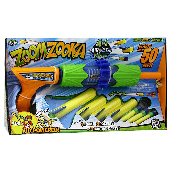 Бластер ZoomZookaZG01350Универсальный комбинированный бластер ZoomZooka способен стрелять как водой, так и различными снарядами - ракетами, стрелами, пулями с присосками. Бластер ZoomZooka - лучший выбор родителей, которые хотят отвлечь своих детей от компьютера и привить им любовь к активному отдыху. Перед этим игрушечным оружием не сможет устоять ни один мальчишка. Ведь он может запускать снаряды на расстояние до 15 метров. Стреляет очень метко и быстро! Это действительно современная и интересная игрушка, которая никогда не надоест. Ракеты и снаряды для бластера ZoomZooka изготовлены из мягкого и легкого пластика, который не поранит ребенка и не сможет что-либо разбить. Игрушку достаточно сложно сломать - она будет служить долго. В комплект входят: бластер, три стрелы с присосками, три ракеты и снаряд-планер.