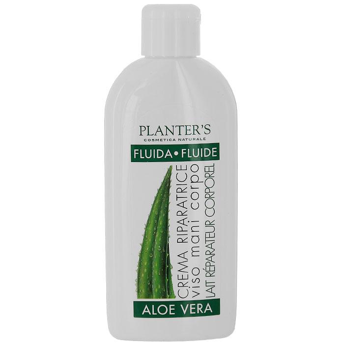 Крем-флюид для лица, рук и тела Planters Aloe Vera, для всех типов кожи, 200 мл7163Крем-флюид для лица, рук и тела Planters Aloe Vera подходит для всех типов кожи. Это нежное косметическое средство для использования в любое время года. Концентрат алоэ вера и активные растительные компоненты в составе крема хорошо увлажняют и защищают кожу лица, рук и тела. Крем хорошо подходит и для тонкой сухой, потрескавшейся кожи, поскольку хорошо увлажняет и снимает раздражение. Видимый результат уже после первого применения. Крем легко и быстро впитывается, защищает от сухости, вызванной солнцем, холодом, ветром, а также и от атмосферного загрязнения. Благодаря его тонкой и легкой текстуре он может быть использован на коже лица, на руках и на теле, не оставляя следов жирности. Способ применения : крем наносится на очищенную кожу лица, рук и тела массажными движениями до полного впитывания.