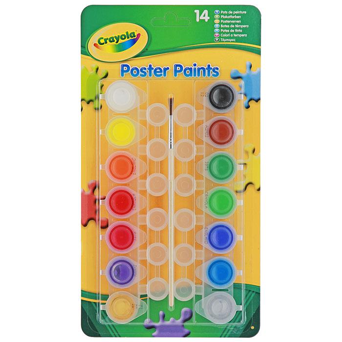 Краски плакатные Crayola, 14 цветов3978Краски Crayola идеально подойдут для детского художественного творчества, изобразительных и оформительских работ. Краски мягко ложатся на бумагу, легко смешиваются между собой, не смазываются и не трескаются при высыхании. В их составе - только экологически чистые, не токсичные и не вызывающие аллергии красители, которые не раздражают нежную детскую кожу при случайном попадании. В набор входят краски 14 ярких насыщенных цветов и оттенков, кисточка и палитра. Краска каждого цвета хранится в отдельной пластиковой баночке с крышкой. В процессе рисования у детей развивается наглядно-образное мышление, воображение, мелкая моторика рук, творческие и художественные способности, вырабатывается усидчивость и аккуратность.
