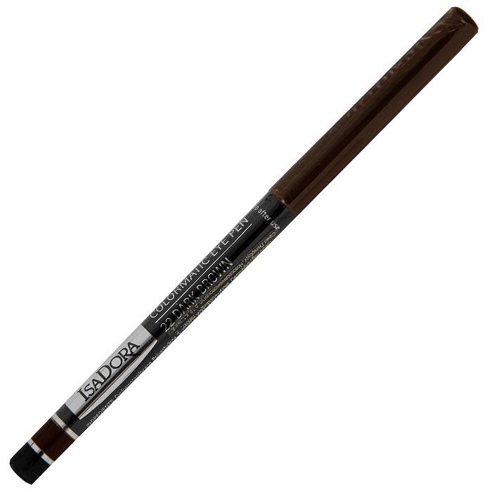 Карандаш для глаз Isa Dora Colormatic, тон №22, цвет: темно-коричневый, 0,28 г113522Придайте выразительности своим глазам с помощью карандаша Isa Dora Colormatic. Насыщенная красящими пигментами, но при этом очень мягкая формула этого водостойкого карандаша позволяет создать четкую линию, которую можно легко растушевать по вашему желанию. Карандаш удобно наносить, а автоматический механизм обеспечивает надежное перемещение грифеля в обоих направлениях. Не требует затачивания. Чтобы слегка заострить или просто обновить стержень, достаточно провести им по бумаге, чтобы сделать его острее. Подходит для людей с чувствительными глазами и носящих контактные линзы. Характеристики: Вес: 0,28 г. Тон: №22 (темно-коричневый). Производитель: Швеция. Артикул: 113522. Товар сертифицирован.