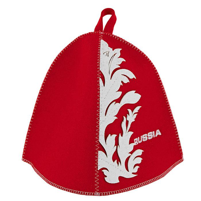 Шапка для бани и сауны RUSSIA, фетр, цвет: красныйБ4851Традиционная шапка для бани и сауны изготовлена из красного фетра и украшена вышитой надписью RUSSIA и яркими аппликациями из фетра белого цвета. Шапка для бани и сауны RUSSIA оригинального дизайна не оставит ее обладателя незамеченным. Она защитит вас от появления головокружения в бане, ваши волосы от сухости и ломкости, а голову от перегрева. Красивый узор и яркие цвета не оставят обладателя данной шапки без внимания.