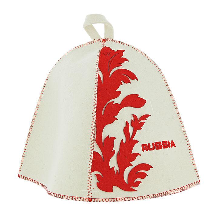 Шапка для бани и сауны RUSSIA, фетр, цвет: белыйБ4551Традиционная шапка для бани и сауны изготовлена из белого фетра и украшена вышитой надписью RUSSIA и яркими аппликациями из фетра красного цвета. Шапка для бани и сауны RUSSIA оригинального дизайна не оставит ее обладателя незамеченным. Она защитит вас от появления головокружения в бане, ваши волосы от сухости и ломкости, а голову от перегрева. Красивый узор и яркие цвета не оставят обладателя данной шапки без внимания. Характеристики: Материал: шерсть. Диаметр основания шапки: 36 см. Высота шапки: 26 см. Производитель: Россия. Артикул: Б4551.