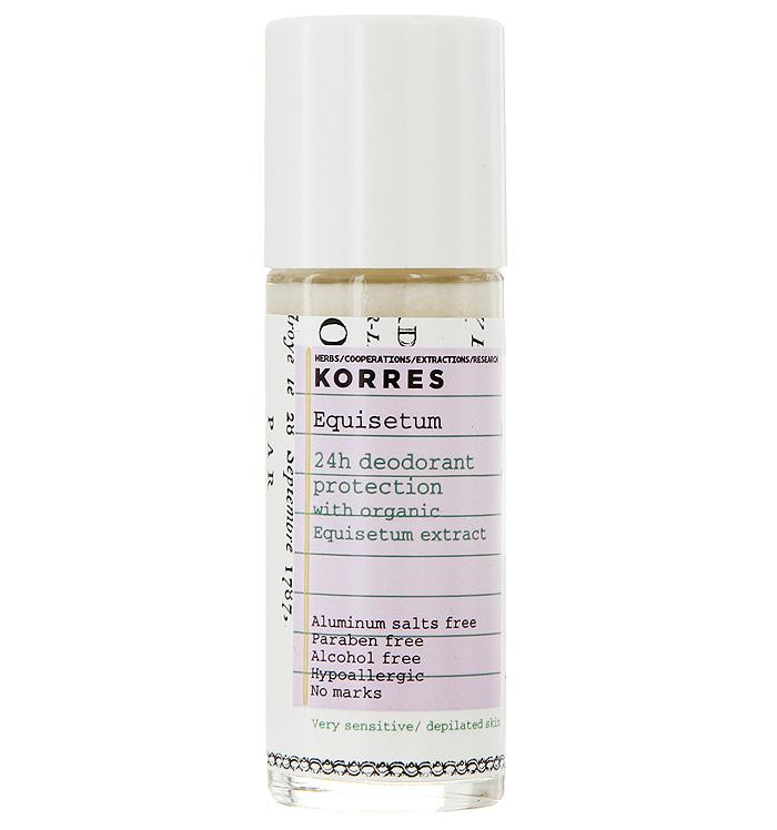 Korres Дезодорант шариковый с экстрактом хвоща, для очень чувствительной кожи, 30 мл5203069043147Дезодорант-антиперспирант Korres для чувствительной кожи 24 часа борется с бактериями, вызывающими неприятный запах, освежает кожу, не оставляя ощущения липкости и следов на одежде. Шариковый дезодорант обладает успокаивающим, антимикробным, антисептическим и противораздражающим свойствами. Кроме того, он содержит бисаболол, который предотвращает раздражение кожи, делает ее увлажненной и мягкой. Товар сертифицирован.