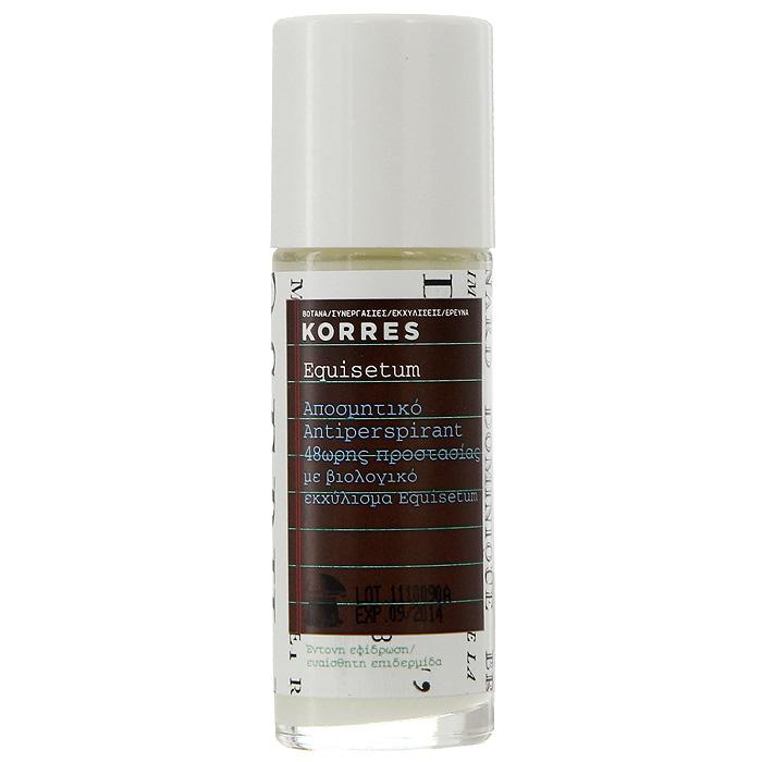 Korres Дезодорант шариковый с экстрактом хвоща, для чувствительной кожи, 30 мл5203069043130Дезодорант-антиперспирант Korres для чувствительной кожи 48 часов борется с бактериями, вызывающими неприятный запах, освежает кожу, не оставляя ощущения липкости и следов на одежде. Шариковый дезодорант содержит аллантоин и комплекс солей алюминия, а также обладает успокаивающим, антимикробным, антисептическим и противораздражающим свойствами. Кроме того, он содержит бисаболол, который предотвращает раздражение кожи, делает ее увлажненной и мягкой.