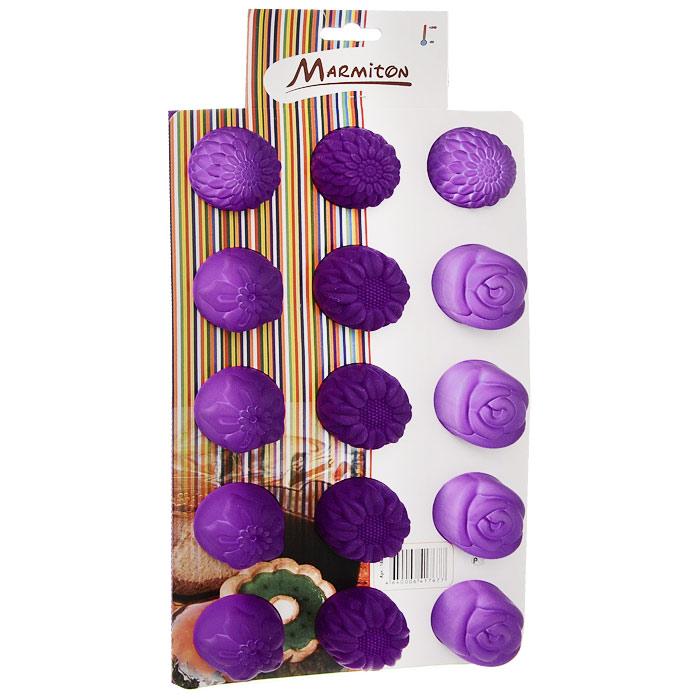 Форма для выпечки Marmiton Цветочки, цвет: сиреневый, 29,5 см х 17,5 см х 2,5 см, 15 ячеек16004Форма для выпечки Marmiton Цветочки выполнена из силикона. На одном листе расположены 15 ячеек, выполненных в виде цветов. Благодаря тому, что форма изготовлена из силикона, готовый лед, выпечку или мармелад вынимать легко и просто. С такой формой вы всегда сможете порадовать своих близких оригинальной выпечкой. Материал устойчив к фруктовым кислотам, может быть использован в духовках, микроволновых печах и морозильных камерах (выдерживает температуру от 240°C до - 40°C). Можно мыть и сушить в посудомоечной машине. Общий размер формы: 29,5 см х 17,5 см х 2,5 см. Размер ячейки: 4 см х 4 см х 2,5 см.