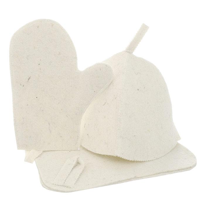 Набор для бани и сауны Нot Pot, цвет: светло-бежевый, 3 предмета42013Набор для бани Нot Pot включает в себя шапку, коврик и рукавицу. Изделия выполнены из лавсана, предметы комплекта обладают великолепными гигроскопичными свойствами и защищают от высоких температур в парной. Оригинальный дизайн изделий добавит эстетики банным процедурам. Такой набор поможет с удовольствием и пользой провести время в бане, а также станет чудесным подарком друзьям и знакомым, которые по достоинству его оценят при первом же использовании. Рекомендуется стирка при температуре. Размер коврика: 40,5 х 35 см. Обхват головы: 78 см. Размер рукавицы: 29 х 22 см.