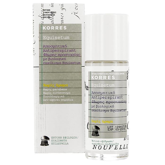Korres Дезодорант шариковый с экстрактом хвоща, для чувствительной кожи, без отдушек, 30 мл5203069043123Дезодорант-антиперспирант Korres для чувствительной кожи 48 часов борется с бактериями, вызывающими неприятный запах, освежает кожу, не оставляя ощущения липкости и следов на одежде. Шариковый дезодорант содержит аллантоин и комплекс солей алюминия, а также обладает успокаивающим, антимикробным, антисептическим и противораздражающим свойствами. Кроме того, он содержит бисаболол, который предотвращает раздражение кожи, делает ее увлажненной и мягкой. Товар сертифицирован.