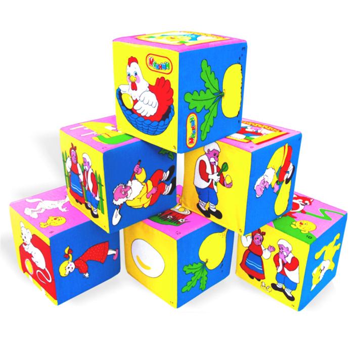 Кубики-мякиши Сказки, 6 шт, в ассортименте1100Развивающие кубики-мякиши Сказки оформлены рисунками по сюжетам известных сказок. Пусть малыш попробует угадать, к какой сказке относится тот или иной персонаж. Кубики изготовлены из высококачественной ткани и мягкого наполнителя, что позволяет им быть абсолютно безопасными в игре. Удачно подобранный размер, цвет, живые и понятные рисунки развивают мышление, координацию движений и совершенствуют моторику нежных пальчиков малыша. Ваш ребенок сможет научиться: различать и называть цвета, сходные по цветовой гамме; группировать кубики по цвету их граней, выстраивая одноцветные башенки или дорожки; выбирать по просьбе взрослого кубик с нужной картинкой среди нескольких других; правильно согласовывать слова в различных падежах, используя в речи все знакомые признаки предметов (имена прилагательные); принимать участие в инсценировке сказки, манипулируя кубиками с изображениями героев сказки, и копируя действия и фразы взрослого и многому другому.