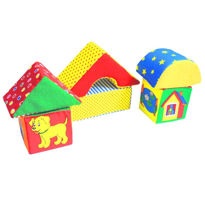Кубики-мякиши Домики054Кубики-мякиши Домики помогут Вашему ребенку научится подбирать каждому животному свой дом. В наборе есть подставка, два кубика с крышами - один большой и один маленький. На маленьком кубике изображены различные животные, а на большом - места, где они живут. Ваш ребенок узнает и сможет запомнить: основные и дополнительные цвета; две градации величины: большой и маленький; объемные геометрические формы куб (кубик) и призму (крышу); шестерых из самых распространенных животных и места их обитания; слова с обобщающим значением (животные, домашние животные, лесные животные); особенности внешнего строения животных (количество конечностей, цвет, органы чувств и так далее). Кубики изготовлены из высококачественной ткани и мягкого наполнителя, что позволяет им быть абсолютно безопасными в игре. Удачно подобранный размер, цвет, живые и понятные рисунки развивают мышление, координацию движений и...