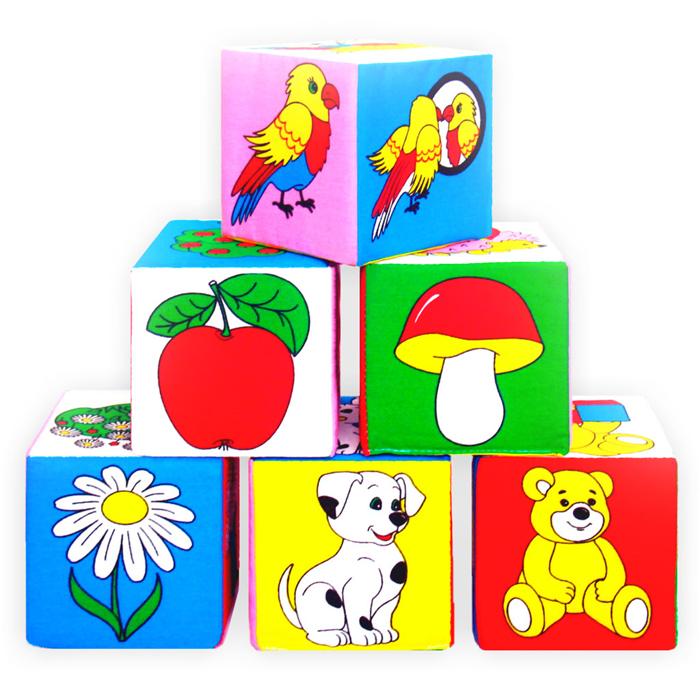 Кубики-мякиши Предметы, 6 шт001Благодаря кубикам-мякишам Предметы Ваш ребенок в игровой форме освоит различные предметы, которые нас окружают в повседневной жизни. Кубики изготовлены из высококачественной ткани и мягкого наполнителя, что позволяет им быть абсолютно безопасными в игре. Удачно подобранный размер, цвет, живые и понятные рисунки развивают мышление, координацию движений и совершенствуют моторику нежных пальчиков малыша.