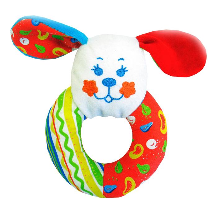 Мягкая игрушка-погремушка Собачка-колечко, в ассортименте319Яркая мягкая игрушка-погремушка Собачка-колечко привлечет внимание малыша и не позволит ему скучать. Погремушка выполнена из высококачественных гипоаллергенных материалов (разнофактурный текстиль и мягкий наполнитель) в виде головы собачки с очаровательной вышитой мордочкой и удобным колечком-держателем. Поверхность игрушки оформлена яркими мелкими рисунками. При потряхивании погремушки раздается негромкий приятный звук. Мягкая игрушка-погремушка Собачка-колечко способствует развитию мышления, координации движений, звукового и цветового восприятия, тактильных ощущений, совершенствует моторику нежных пальчиков малыша.