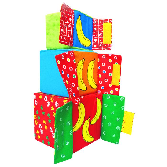 Кубики-мякиши Раз, Два, Три, 3 шт154Кубики-мякиши Раз, Два, Три - это уникальный набор из трех мягких кубиков, обучающий счету, мелкой моторике и простому конструированию, а также сенсорному восприятию мира. Яркие и привлекательные кубики отличаются разными размерами (удобными для руки ребенка), комбинированной расцветкой, и приятными на ощупь материалами разной фактуры, к тому же у кубиков есть грани с нарисованными цифрами и подвижными дверцами за которыми спрятаны бананы. Кубики изготовлены из высококачественной ткани и мягкого наполнителя, что делает их абсолютно безопасными в игре. Удачно подобранный размер и цвет развивают мышление, координацию движений и совершенствуют моторику нежных пальчиков малыша.