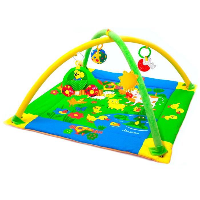 Развивающий коврик Лужайка, с машинкой, 90 см x 90 см193Яркий развивающий коврик Лужайка станет первой площадкой для игр вашего малыша. Коврик Лужайка - это сенсорный тренажер для ориентировки малыша в пространстве, насыщенный цветами, изображениями и объемными формами, также это чудесный мир персонажей, эмоционально близких маленькому ребенку. Прямоугольный набивной коврик выполнен из необычайно мягкого и приятного на ощупь материала с яркими цветными рисунками. На поверхности коврика малыш найдет шуршащий пруд с рыбкой и лягушкой, домик с открывающимся окошком, уточку с пищалкой внутри и яркие изображения домашних животных, резвящихся на летней лужайке. Коврик оборудован двумя съемными дугами, которые помогут малышу расслабиться, обеспечивая визуально безопасное пространство, напоминающее о пребывании в уютном мамином животике. На дугах малыш найдет три развивающие съемные игрушки: мячик-погремушку, солнышко с пищалкой внутри, разноцветную машинку с открывающимся окошком и двумя вращающимися колесами и два прорезывателя для...