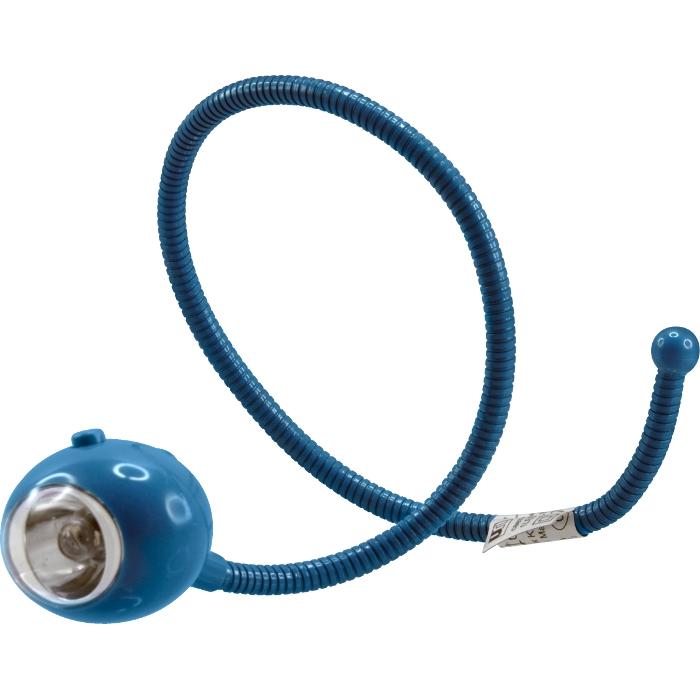 Фонарик светодиодный Led на гибкой стойке, цвет: синий370Светодиодный фонарик Led на гибкой стойке, выполненный из пластика синего цвета, имеет один белый светодиод. Фонарик можно закрепить на запястье руки, зафиксировать на любой поверхности. Легкий, изящный инопланетный глаз подходит для дежурной подсветки. Он прекрасно подойдет для использования дома, на даче и во время путешествий. Включение и выключение фонаря производится с помощью специальной кнопки на плафоне.