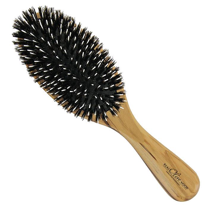 Щетка для волос Riffi, с нейлоновыми зубцами и щетиной5810Массажная щетка Riffi подходит для всех типов волос и должна быть у каждой женщины — овальная, с нейлоновыми зубцами и щетинками. Корус щетки выполнен из натуральной древесины оливкового дерева, подушка - из резины. Нейлоновые зубчики не растягивают и не повреждают волосы, а щетина массирует кожу головы, улучшает кровообращение, стимулируя рост волос и делая их здоровыми и сияющими.