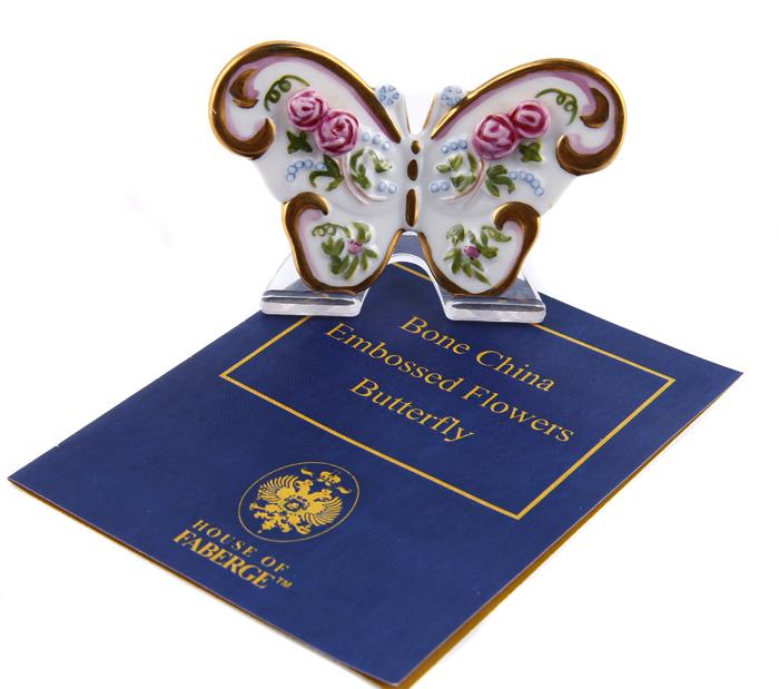 Статуэтка Бабочка. Костяной фарфор, гравировка, металл, позолота, House of Faberge, 1991 год