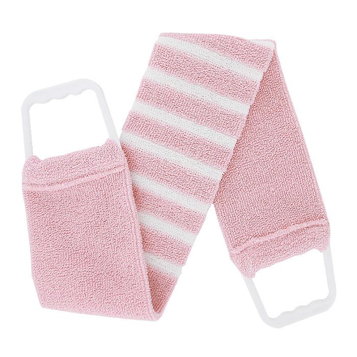 Мочалка-пояс Riffi, мягкая, с массажными полосками, цвет: светло-розовый, белый