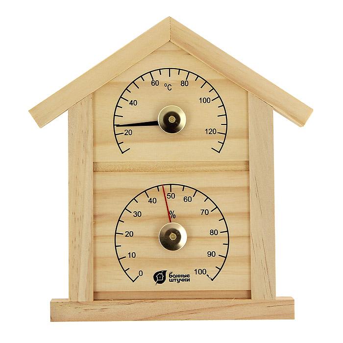 Термометр с гигрометром Домик для бани и сауны18023Термометр с гигрометром Домик выполнен из натурального дерева в виде домика. Максимальная измеряемая температура - 120°C, влажность - 100%. Русский человек любит ходить в баню, а особенно - париться. Однако следует иметь в виду, что превышение температур в парной приводит к определенным побочным эффектам - от головокружения и тошноты, до обострения хронических заболеваний. Избежать такого рода неприятностей вам поможет термометр с гигрометром Домик.