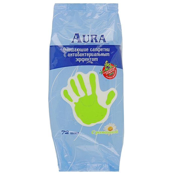 Влажные салфетки Aura, антибактериальные, с ромашкой, 72 шт15212070Освежающие влажные салфетки Aura с антибактериальным эффектом содержат мягкий очищающий лосьон, который убивает большинство бактерий и микробов. Имеют приятный аромат ромашки. Практичны и удобны в применении. Незаменимы в дороге, на отдыхе, дома и на работе. Не содержат спирт.
