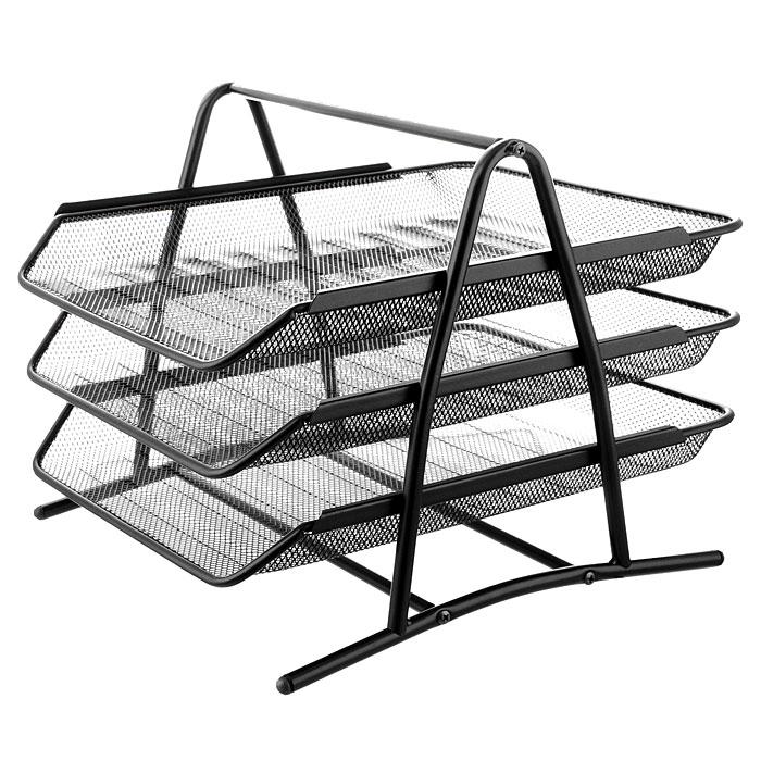 "Лоток для бумаг трехуровневый ""Erich Krause"", цвет: черный"