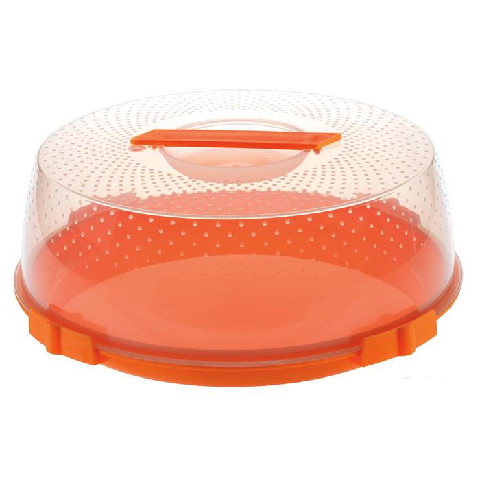 Тортница Cosmoplast Оазис, цвет: оранжевый, прозрачный, диаметр 32 см2123_оранжевыйТортница Cosmoplast Оазис изготовлена из высококачественного прочного пищевого пластика. Тортница имеет удобную ручку для переноски и прочные фиксаторы крышки. Может использоваться в микроволновой печи и морозильной камере (выдерживает температуру от -30°С до +115°С). Очень гигиенична и легко моется. Можно мыть в посудомоечной машине. Диаметр тортницы: 32 см. Внутренний диаметр тортницы: 28 см. Высота тортницы: 13 см. Внутренняя высота: 10 см.
