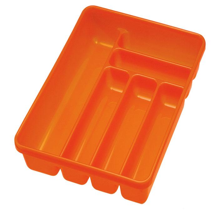 Лоток для столовых приборов Cosmoplast, 6 отделений, цвет: оранжевый2142Лоток для столовых приборов Cosmoplast изготовлен из высококачественного пищевого пластика. Он предназначен для выдвигающихся ящиков на кухне. Лоток имеет шесть отделений: три отделения для вилок, ложек, ножей, два малых отделения для чайных ложек и десертных вилок, одно большое отделение для остальных приборов. Размер большого отделения: 38,5 см х 8 см. Размер средних отделений: 27 см х 6,5 см. Размер маленьких отделений: 20 см х 5 см.